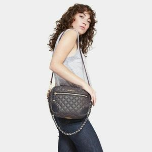 MZ WALLACE Gray Quilted Small Crosby Crossbody Bag